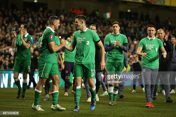 Jon Walters of the Republic of Ireland and Ciaran Clark of the Republic of Ireland celebrate following their team's 20 victory and qualificatoion...