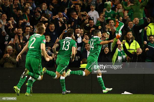 Jon Walters of the Republic of Ireland celebrates after scoring the opening goal from the penalty spot during the UEFA EURO 2016 Qualifier play off...