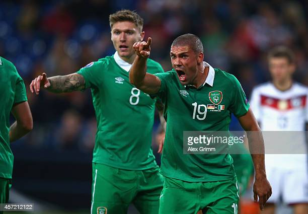 Jon Walters of the Republic of Ireland reacts during the EURO 2016 Qualifier between Germany and Republic of Ireland at the VeltinsArena on October...