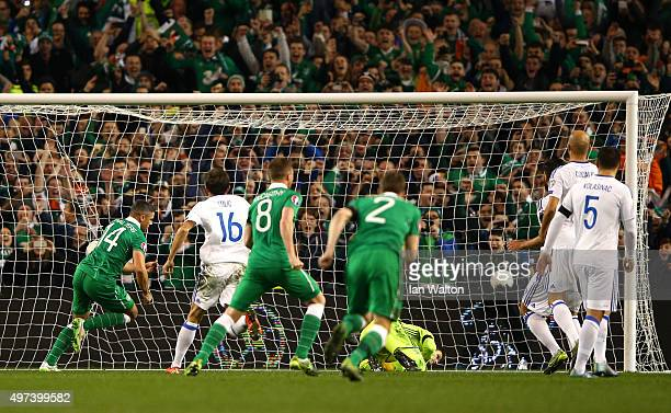Jon Walters of the Republic of Ireland scores the opening goal from the penalty spot during the UEFA EURO 2016 Qualifier play off second leg match...
