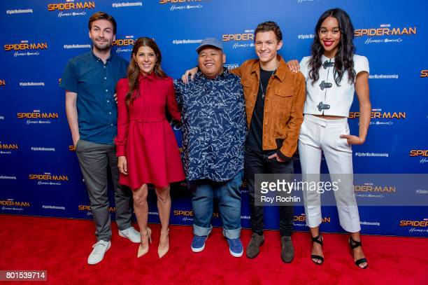 Jon Watts Marisa Tomei Jacob Batalon Tom Holland and Laura Harrier attend 'Spiderman Homecoming' New York First Responders' screening at Henry R Luce...