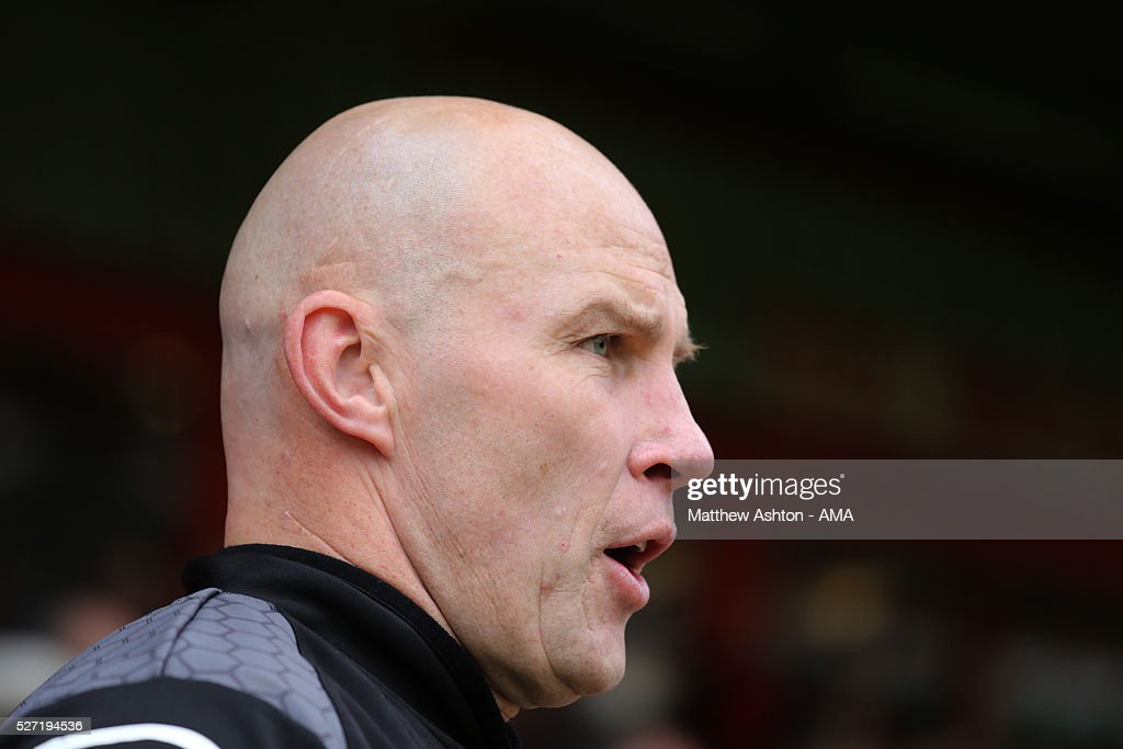 Jon Whitney the head coach / manager of Walsall during the Sky Bet League One match between Walsall and Fleetwood Town at Bescot Stadium on May 2, 2016 in Walsall, England.
