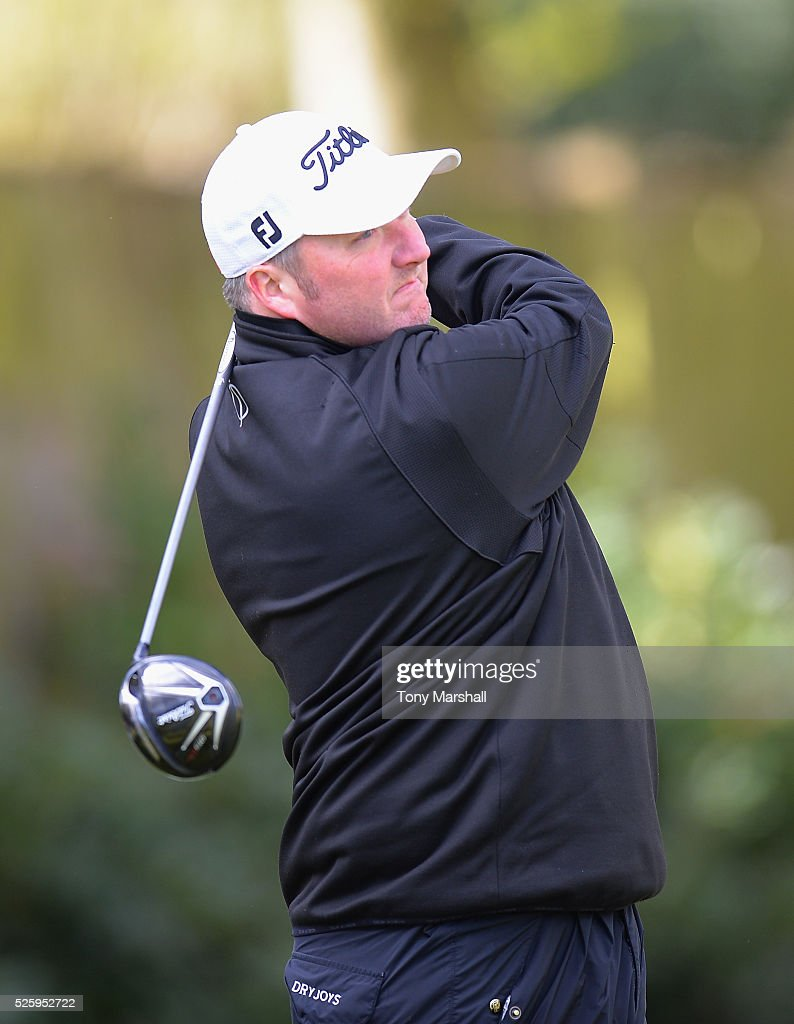 Jon Williamson of Birstall Golf Club plays his first shot on the 1st tee during the PGA Professional Championship - Midland Qualifier at Little Aston Golf Club on April 29, 2016 in Sutton Coldfield, England.
