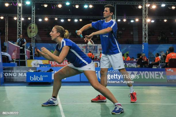 Jona Van Nieuwkerke and Joke De Langhe of Belgium compete against Juha Honkanen and Pihla Lindberg of Finland during Mixed Double qualification round...