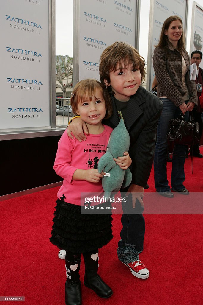 Jonah Bobo and sister Georgia Bobo during Los Angeles Premiere of Columbia Pictures' 'Zathura A Space Adventure' at Mann Village Theatre/Barker...