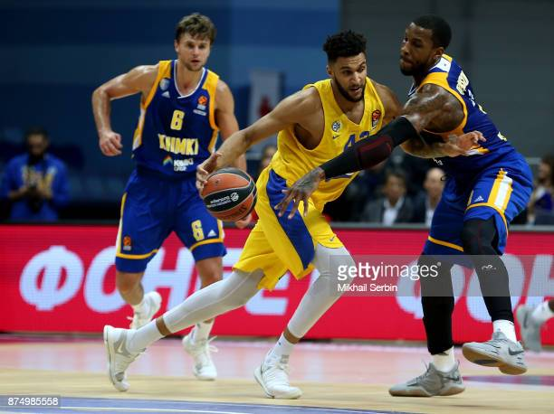 Jonah Bolden #43 of Maccabi Fox Tel Aviv competes with Thomas Robinson #0 of Khimki Moscow Region in action during the 2017/2018 Turkish Airlines...