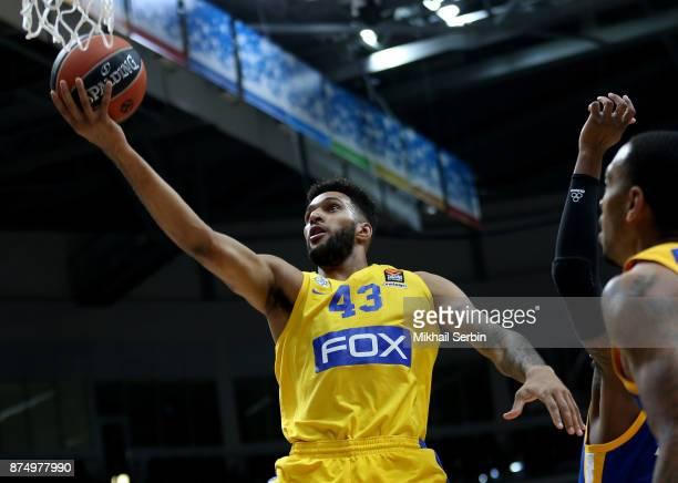 Jonah Bolden #43 of Maccabi Fox Tel Aviv in action during the 2017/2018 Turkish Airlines EuroLeague Regular Season Round 8 game between Khimki Moscow...