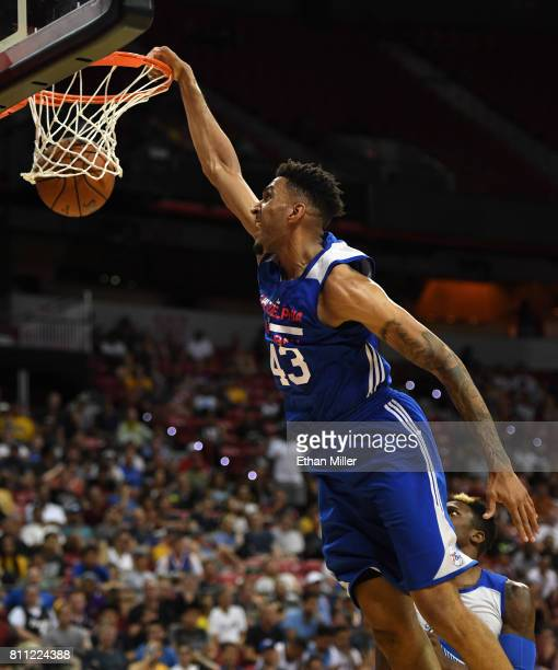 Jonah Bolden of the Philadelphia 76ers dunks against the Golden State Warriors during the 2017 Summer League at the Thomas Mack Center on July 8 2017...