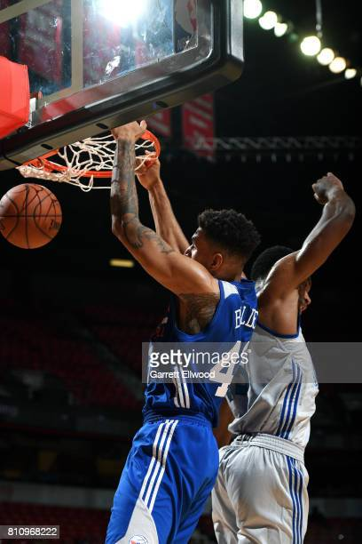 Jonah Bolden of the Philadelphia 76ers dunks the ball during the game against the Golden State Warriors during the 2017 Las Vegas Summer League on...