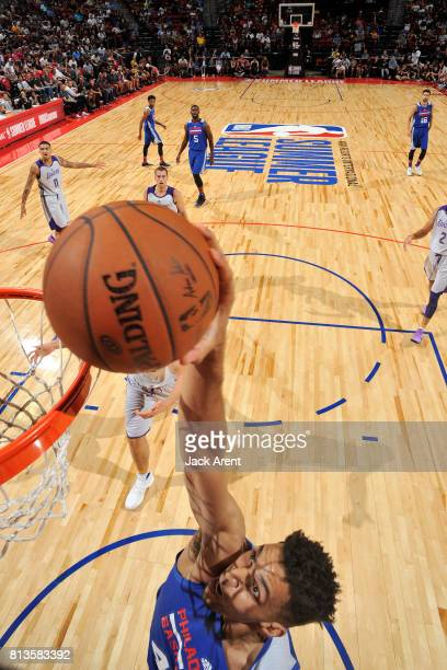 Jonah Bolden of the Philadelphia 76ers dunks the ball during the game against the Los Angeles Lakers during the 2017 Las Vegas Summer League on July...