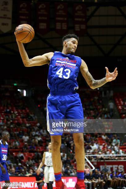 Jonah Bolden of the Philadelphia 76ers gets the rebound during the game against the San Antonio Spurs during the 2017 Utah Summer League on July 6...