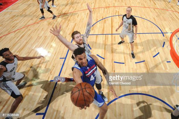 Jonah Bolden of the Philadelphia 76ers goes to the basket against the San Antonio Spurs during the 2017 Las Vegas Summer League on July 9 2017 at the...
