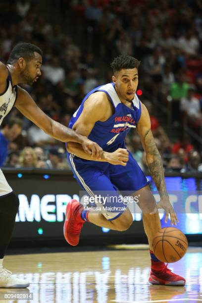 Jonah Bolden of the Philadelphia 76ers handles the ball against the Utah Jazz on July 5 2017 during the 2017 NBA Utah Summer League game at the Jon M...