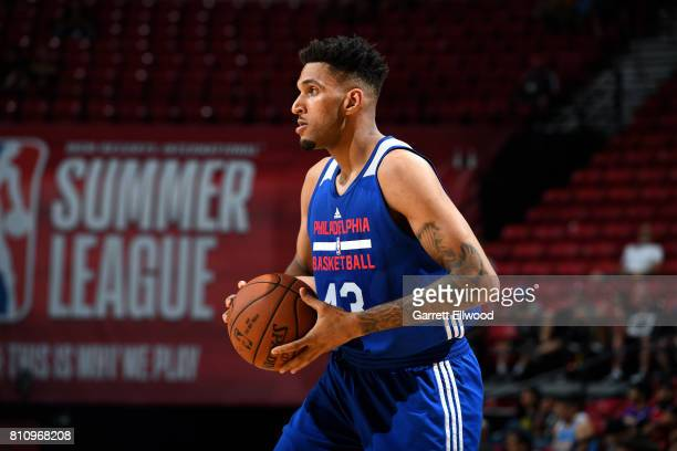Jonah Bolden of the Philadelphia 76ers handles the ball during the game against the Golden State Warriors during the 2017 Las Vegas Summer League on...