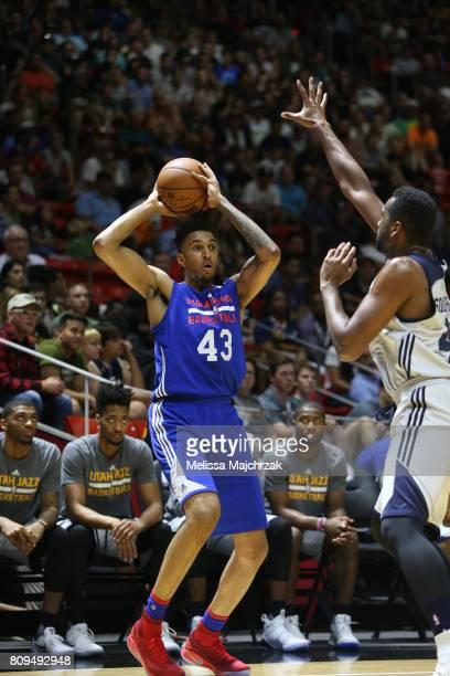 Jonah Bolden of the Philadelphia 76ers passes the ball against the Utah Jazz on July 5 2017 during the 2017 NBA Utah Summer League game at the Jon M...