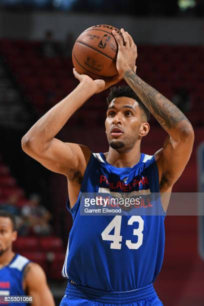 Jonah Bolden of the Philadelphia 76ers shoots a free throw during the game against the San Antonio Spurs during the 2017 Las Vegas Summer League on...