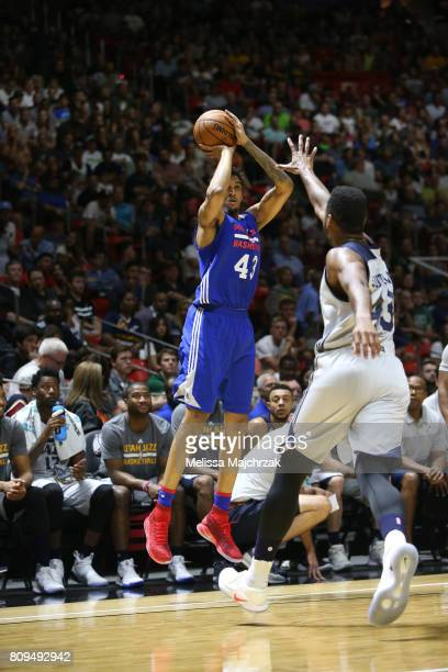 Jonah Bolden of the Philadelphia 76ers shoots the ball against the Utah Jazz on July 5 2017 during the 2017 NBA Utah Summer League game at the Jon M...