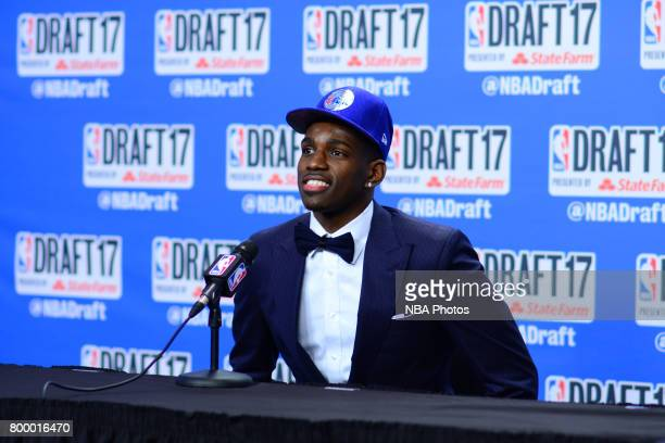 Jonah Bolden of the Philadelphia 76ers talks to the media after being selected 36th overall at the 2017 NBA Draft on June 22 2017 at Barclays Center...