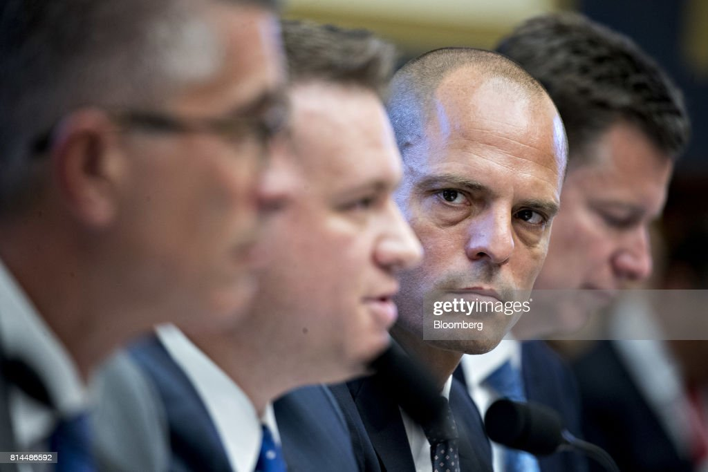 Jonah Crane, former deputy assistant secretary of Financial Stability Oversight Council at the U.S. Treasury, second right, listens during a House Financial Services Subcommittee hearing in Washington, D.C., U.S., on Friday, July 14, 2017. The hearing is entitled A Review of Fixed Income Market Structure. Photographer: Andrew Harrer/Bloomberg via Getty Images