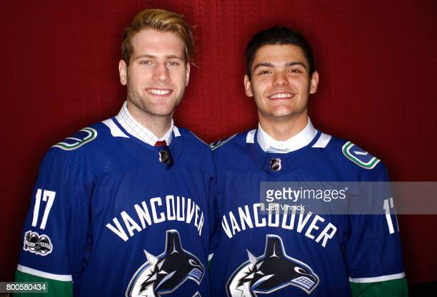 Jonah Gadjovich 55th overall pick and Michael DiPietro 64th overall pick of the Vancouver Canucks pose for a portrait during the 2017 NHL Draft at...