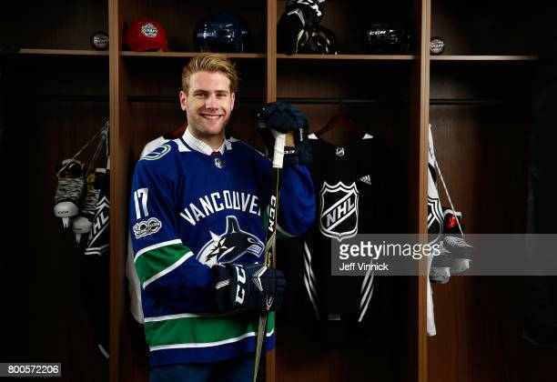 Jonah Gadjovich 55th overall pick of the Vancouver Canucks poses for a portrait during the 2017 NHL Draft at United Center on June 24 2017 in Chicago...