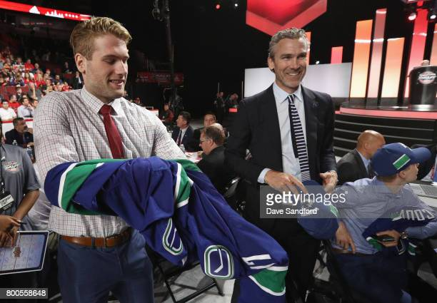 Jonah Gadjovich greets the team after being selected 55th overall by the Vancouver Canucks during the 2017 NHL Draft at United Center on June 24 2017...