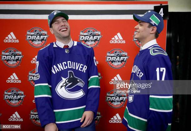 Jonah Gadjovich left and Michael DiPietro are interviewed after being drafted by the Vancouver Canucks during the 2017 NHL Draft at the United Center...