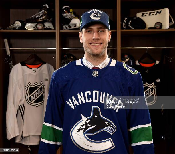 Jonah Gadjovich poses for a portrait after being selected 55th overall by the Vancouver Canucks during the 2017 NHL Draft at the United Center on...