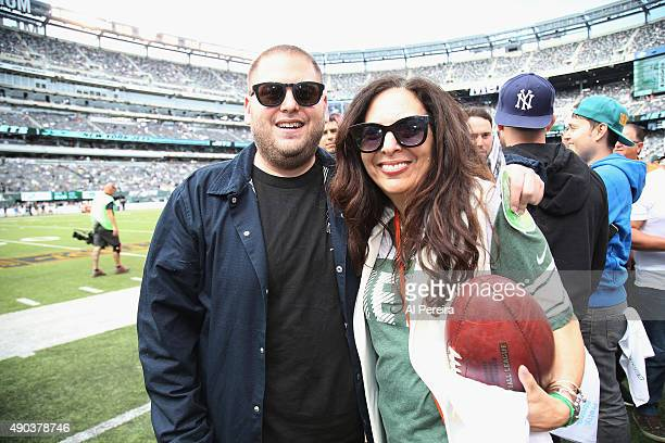 Jonah Hill and his mother Sharon Lyn attend the New York Jets vs Philadelphia Eagles game at MetLife Stadium on September 27 2015 in East Rutherford...
