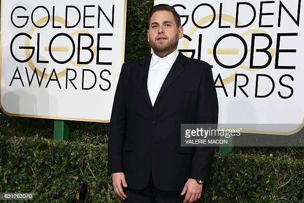Jonah Hill arrives at the 74th annual Golden Globe Awards January 8 at the Beverly Hilton Hotel in Beverly Hills California / AFP / VALERIE MACON