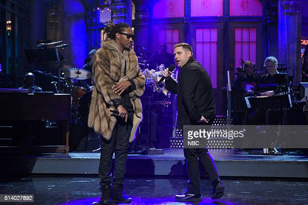 LIVE 'Jonah Hill' Episode 1697 Pictured Musical guest Future and host Jonah Hill during the monologue on March 5 2016
