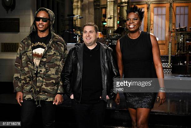LIVE 'Jonah Hill' Episode 1697 Pictured Musical guest Future host Jonah Hill and Leslie Jones on March 3 2016