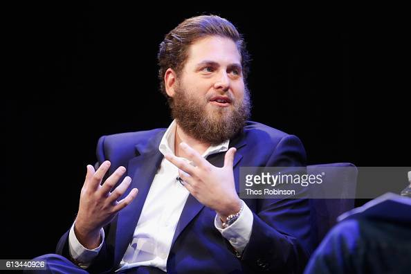 Jonah Hill speaks at The New Yorker Festival 2016 Jonah Hill talks with David Remnick at Acura at SIR Stage37 on October 8 2016 in New York City