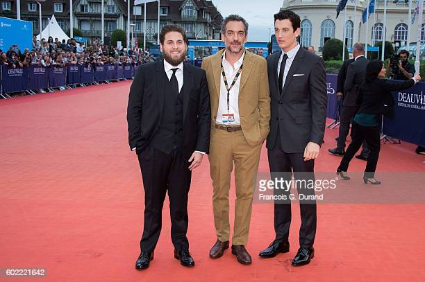 Jonah Hill Todd Phillips and Miles Teller arrive to the 'War Dogs' premiere and Award Ceremony during the 42nd Deauville American Film Festival on...