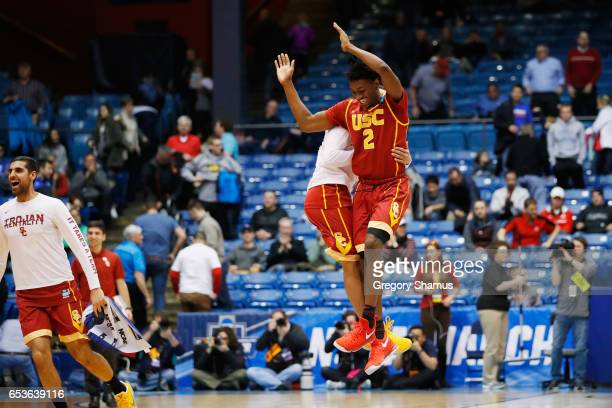 Jonah Mathews of the USC Trojans celebrates defeating the Providence Friars 7571 during the First Four game in the 2017 NCAA Men's Basketball...