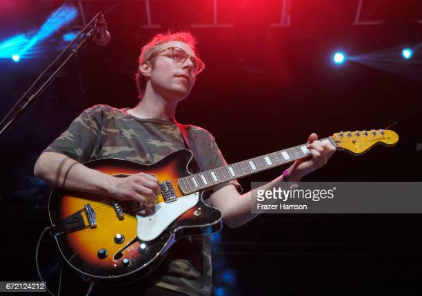 Jonah Maurer of Real Estate performs at the Gobi Tent during day 3 of the 2017 Coachella Valley Music Arts Festival at the Empire Polo Club on April...