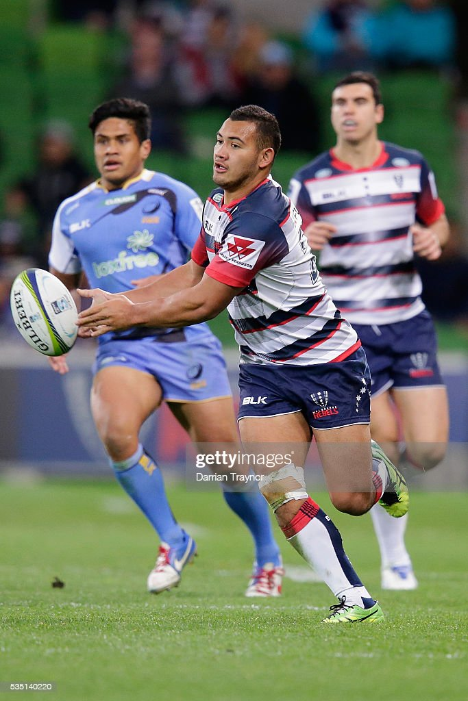 Jonah Placid of the Rebels passes the ball during the round 14 Super Rugby match between the Rebels and the Force at AAMI Park on May 29, 2016 in Melbourne, Australia.