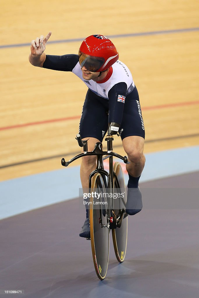 JonAllan Butterworth of Great Britain celebrates after competing in the Men's Individual C5 Pursuit Cycling qualification on day 3 of the London 2012...