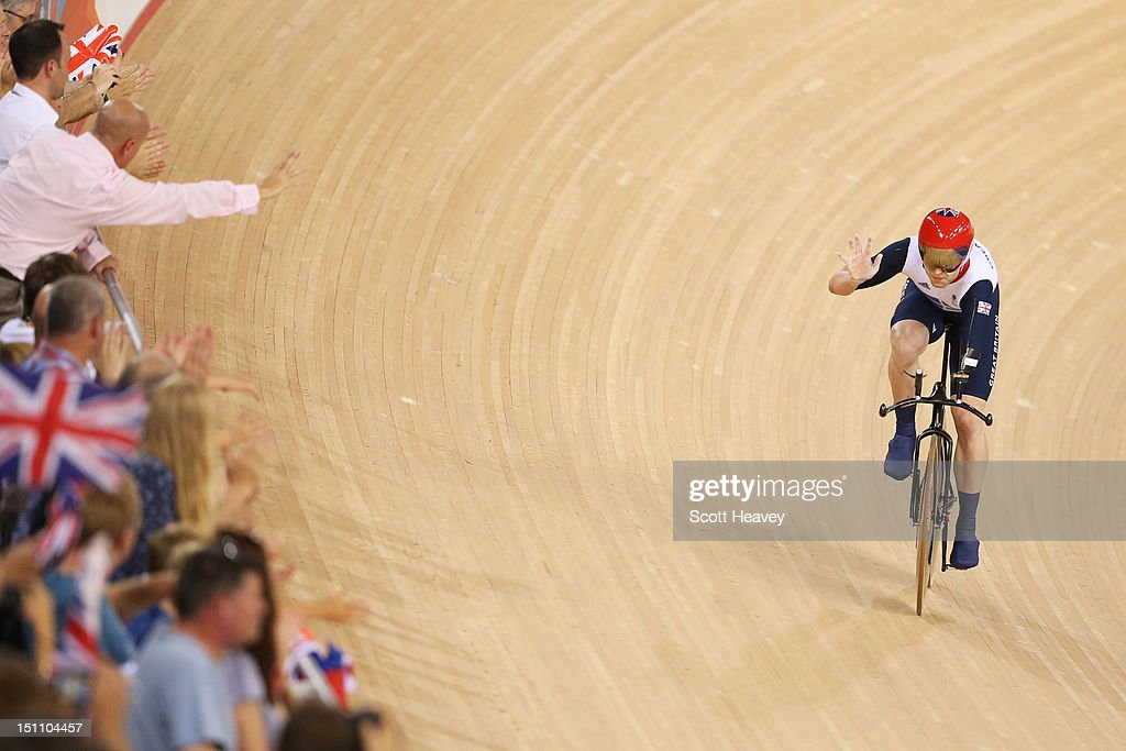 JonAllan Butterworth of Great Britain celebrates winning silver in the Men's Individual C5 Pursuit Final on day 3 of the London 2012 Paralympic Games...