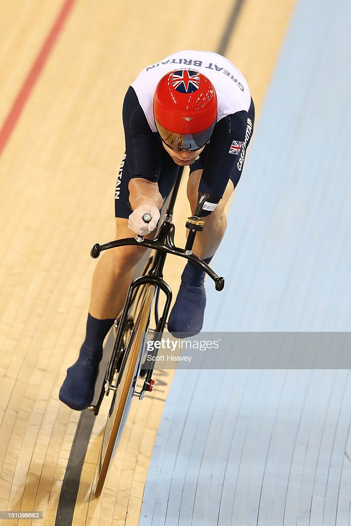 JonAllan Butterworth of Great Britain competes in the Men's Individual C5 Pursuit Cycling qualification on day 3 of the London 2012 Paralympic Games...