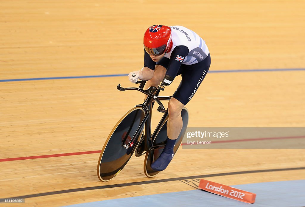 JonAllan Butterworth of Great Britain competes in the Men's Individual C5 Pursuit Final on day 3 of the London 2012 Paralympic Games at Velodrome on...