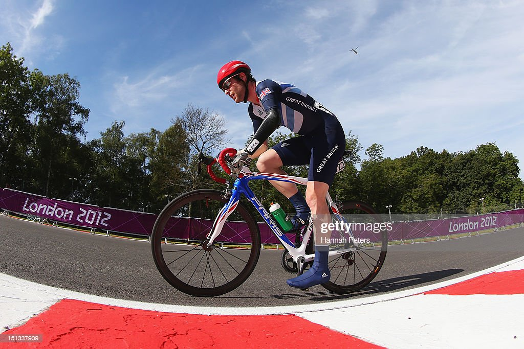 JonAllan Butterworth of Great Britain competes in the Men's Individual C45 Road Race on day 8 of the London 2012 Paralympic Games at Brands Hatch on...
