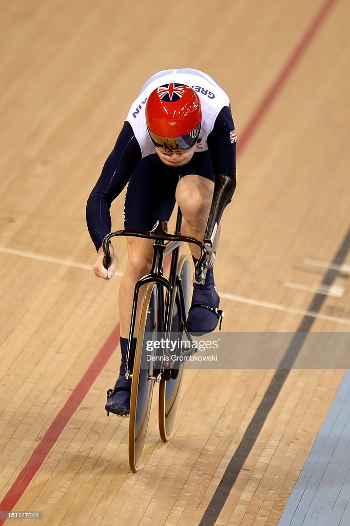 JonAllan Butterworth of Great Britain competes in the Mixed C1 to 5 Cycling Team Sprint finals on day 4 of the London 2012 Paralympic Games at...