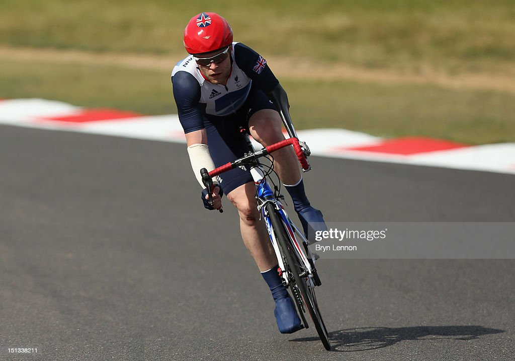 JonAllan Butterworth of Great Britain in action in the Men's C 45 Individual Road Race on day 8 of the London 2012 Paralympic Games at Brands Hatch...