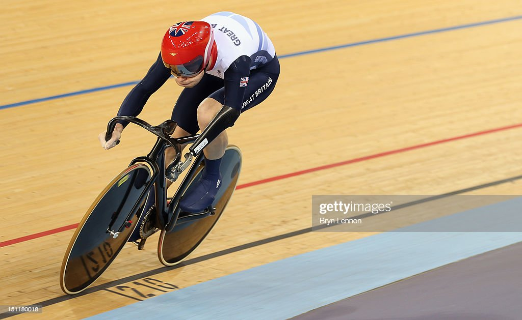 JonAllan Butterworth of Great Britain in action in the Mixed C1 C5 Team Sprint qualifying on day 4 of the London 2012 Paralympic Games at Velodrome...