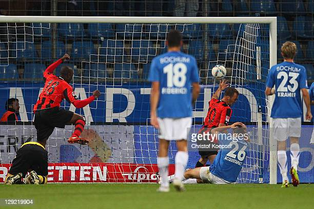 Jonas Acquistapace of Bochum scores a own goal during the Second Bundesliga match between VfL Bochum and Eintracht Frankfurt at Rewirpower stadium on...
