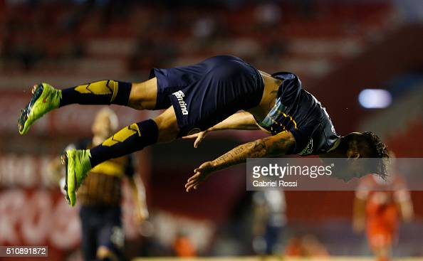 Jonas Aguirre of Rosario Central celebrates after scoring the second goal of his team during the match between Independiente and Rosario Central as...