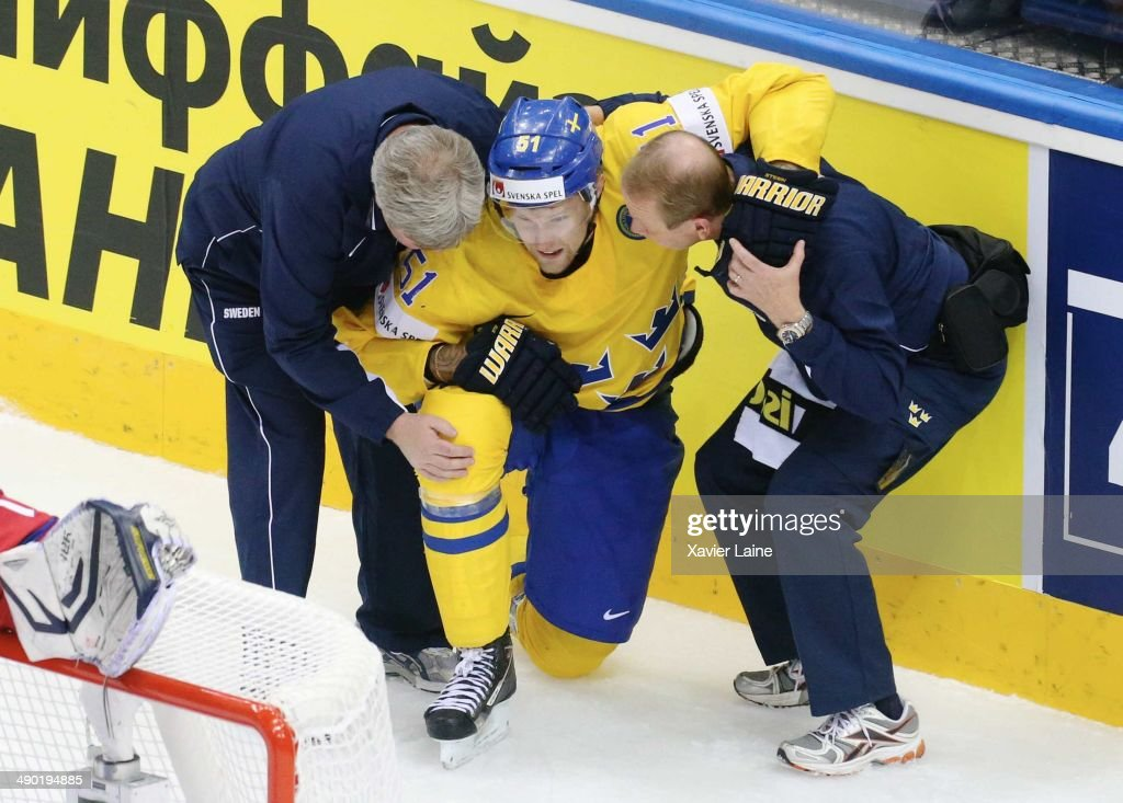 Jonas Ahnelov of Sweden is injured during the 2014 IIHF World Championship between Sweden and Norway at Chizhovka arena on May 13, 2014 in Minsk, Belarus.