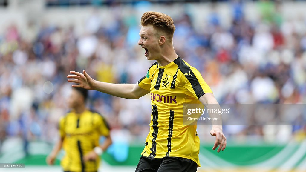 Jonas Arweiler of Dortmund celebrates his team's first goal during the A Juniors German Championship Final match between 1899 Hoffenheim U19 and Borussia Dortmund U19 at Wirsol Rhein-Neckar-Arena on May 29, 2016 in Sinsheim, Germany.
