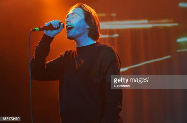 Jonas Bjerre of Mew performs on stage at the O2 Shepherd's Bush Empire on May 23 2017 in London England